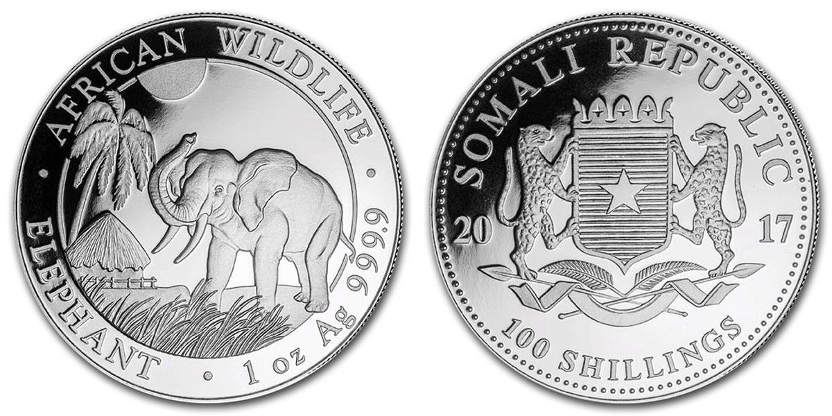 Photo pièce d'argent 1 once Elephant Somalie 2017