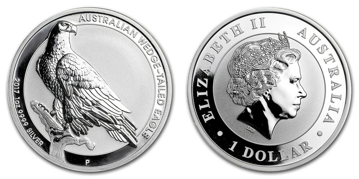Pièce argent Australie 1 dollar Aigle à queue pointue 2017
