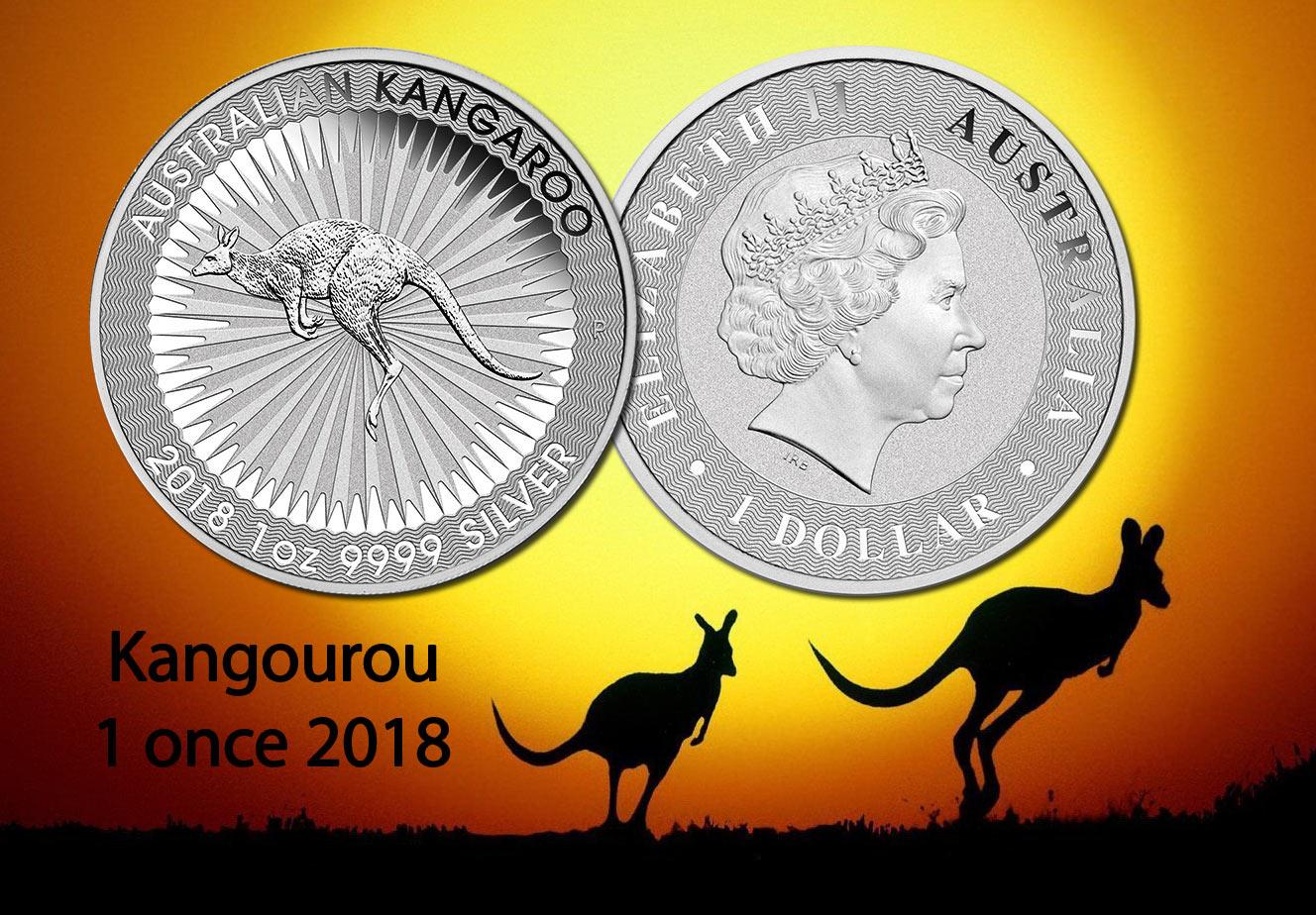 Photo de la pièce d'argent d'une once Kangourou Australie 2018