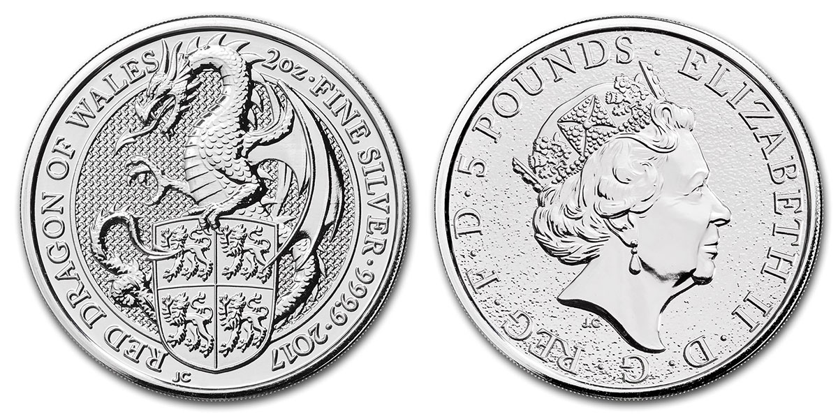 Pièce argent Royaume Uni 5 livres sterling 2 onces Queen's Beasts Red Dragon 2017