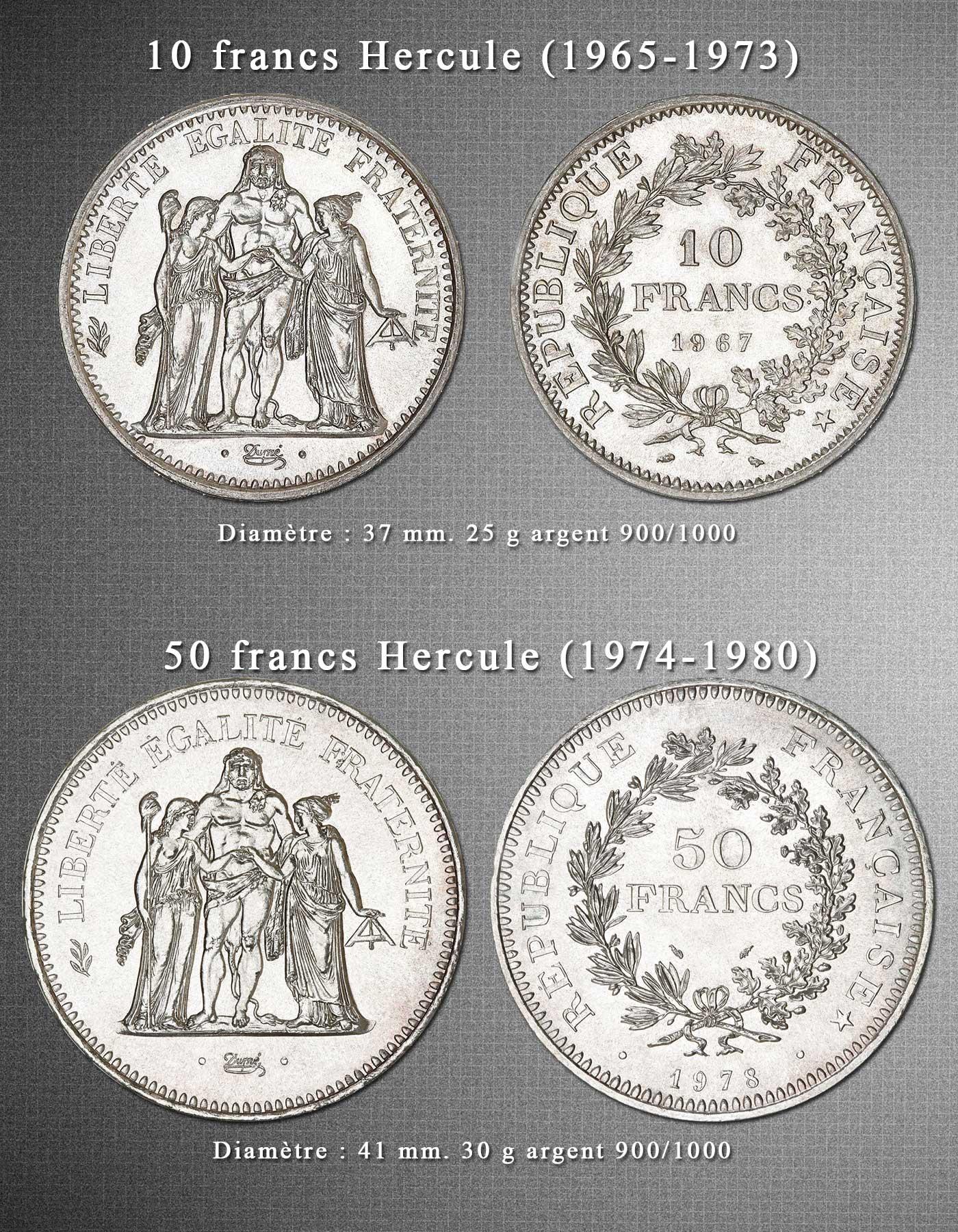 Photo des pièces de 10 francs argent Hercule et 50 francs argent Hercule