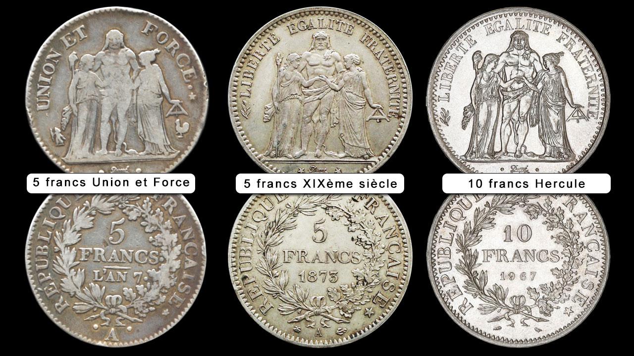 Image des 3 pièces basées sur la pièce de 5 francs Union et force de Dupré