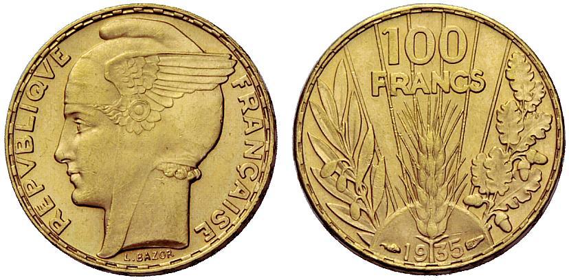 Une pièce d'or de 100 francs or Bazor