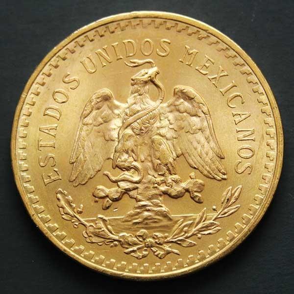 Revers d'une pièce d'or de 50 pesos du Mexique