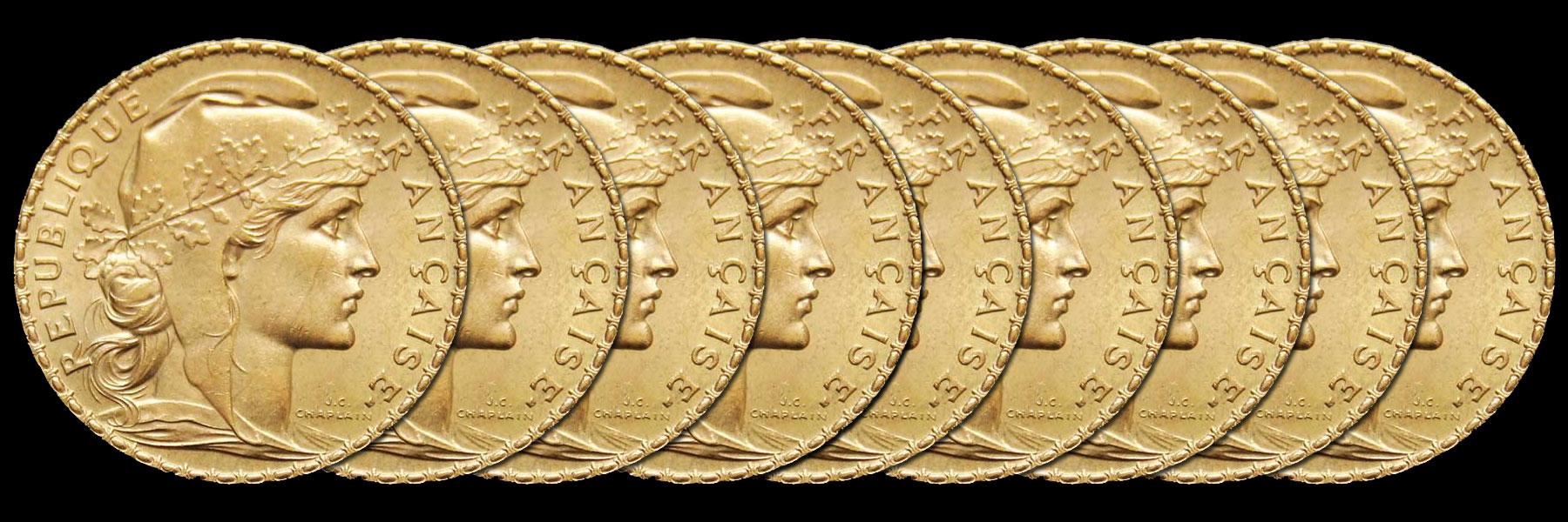 Photo pièces d'or 20 francs Coq Marianne années variées