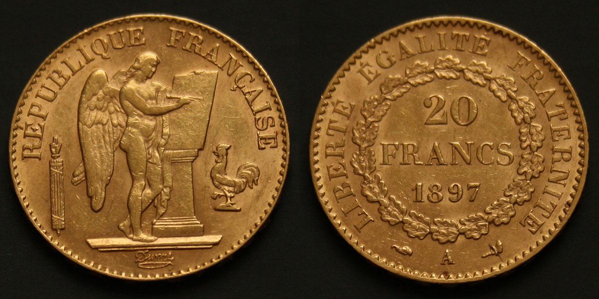 Photo d'une pièce d'or 20 franc Génie