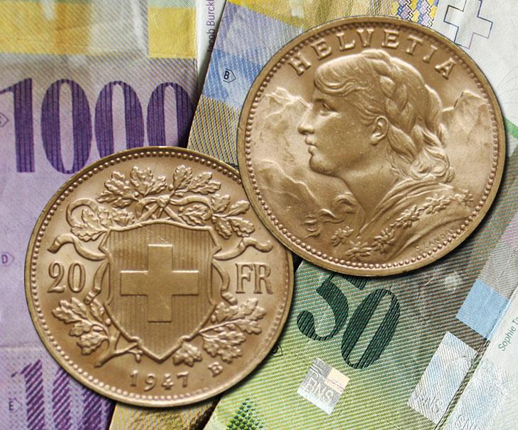 Photo d'une pièce d'or Suisse de 20 francs type Vreneli
