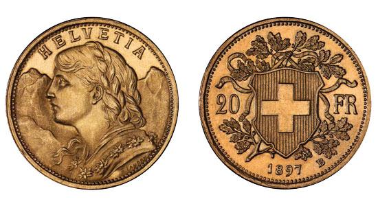 Pièce or Suisse 20 francs or Vreneli