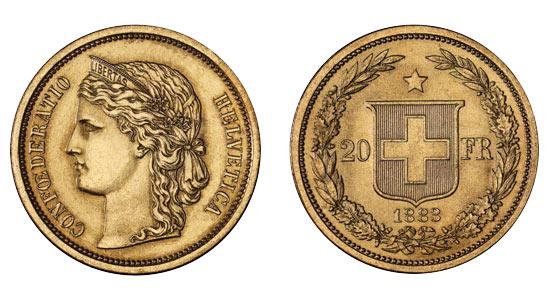 Pièce or Suisse 20 francs or Helvetia