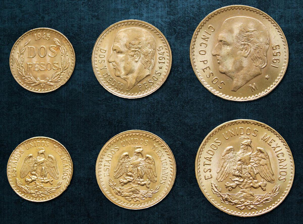 Photo des pièces de 2 2,5 et pesos or du Mexique
