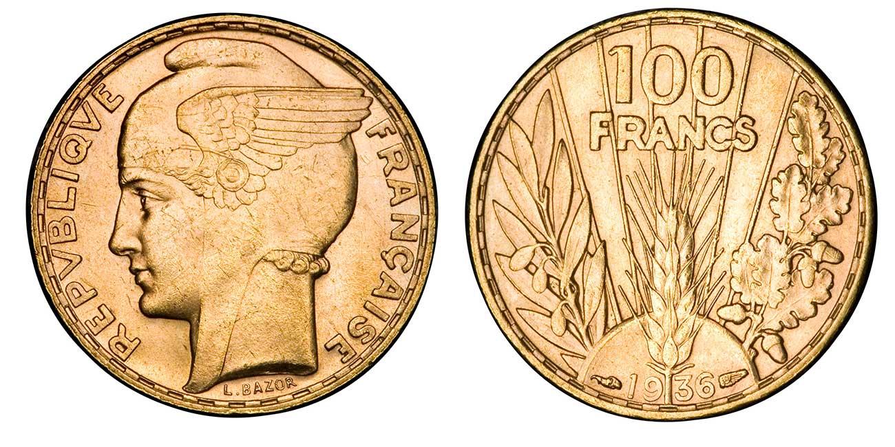 Photo d'une pièce d'or 100 francs Bazor