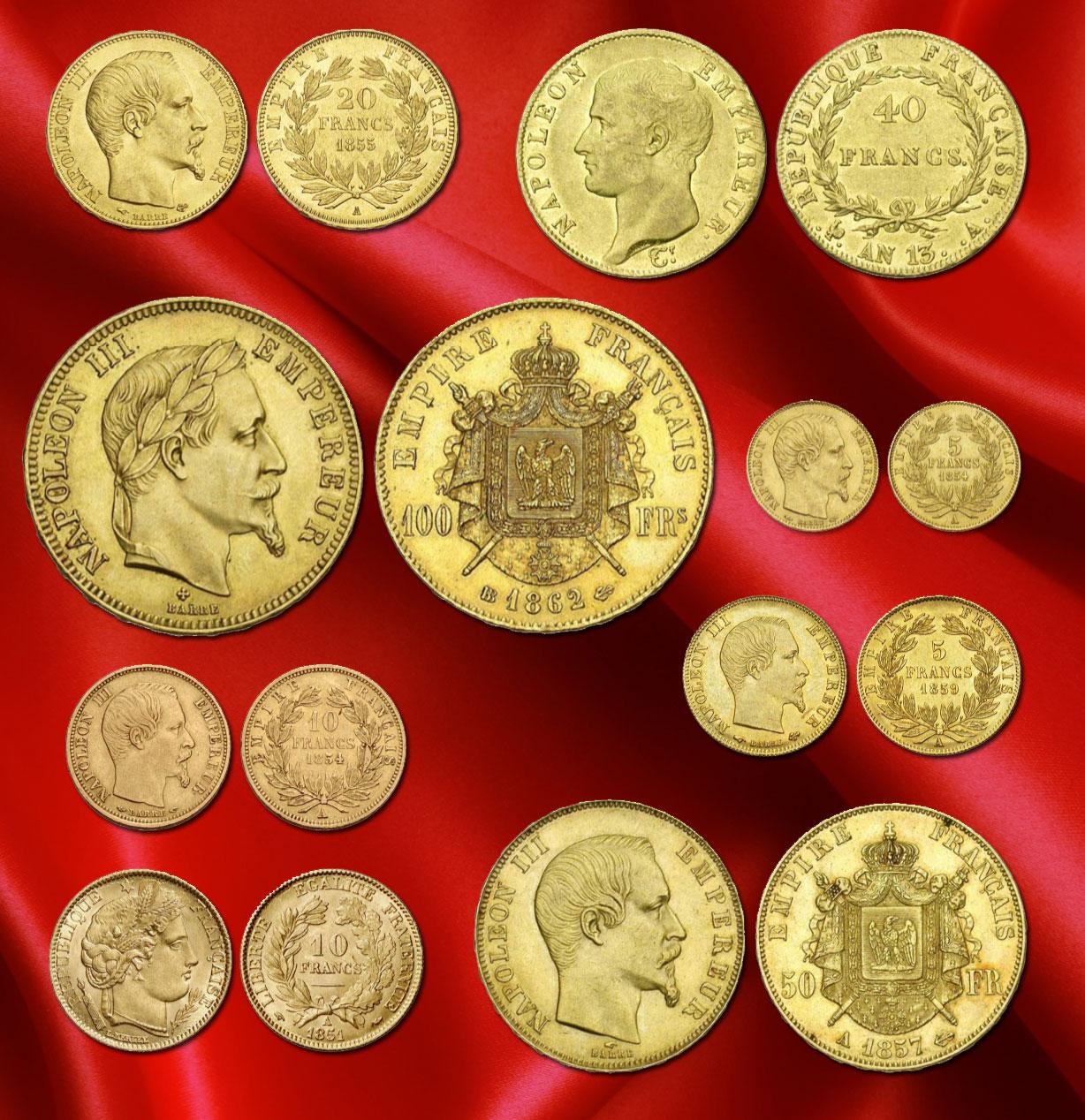 Quelques pièces d'or françaises