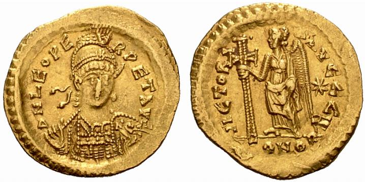 Pièce d'or : pièce d'or byzantine, solidus de Léon I