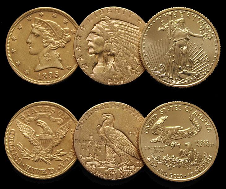 Photo avers et revers des 3 pièces d'or américaines
