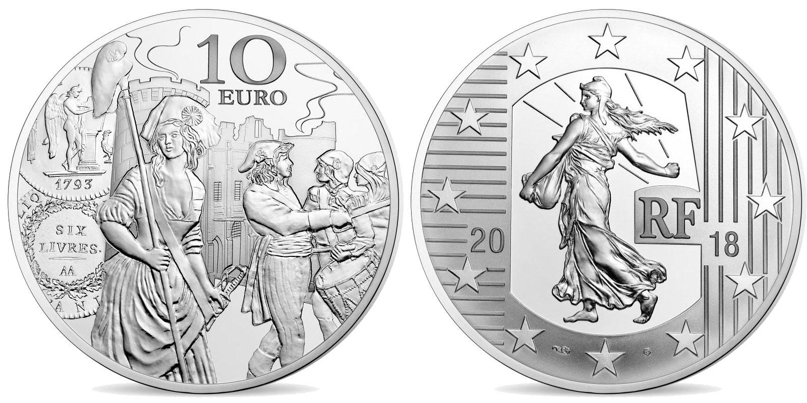 L'écu de 6 livres monnaie de 10 € argent 2018