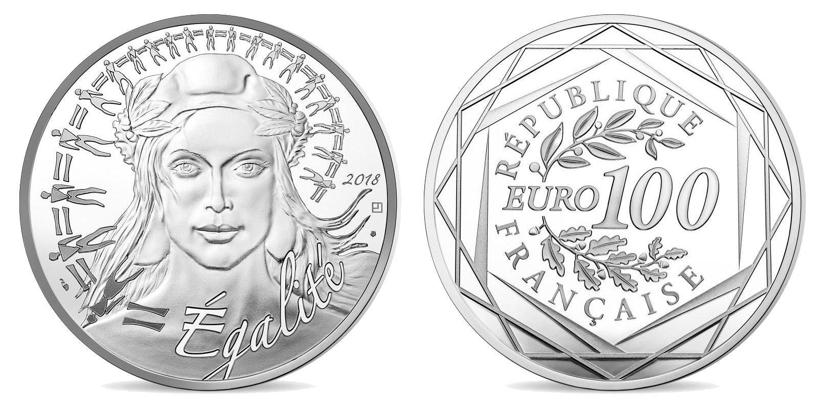 Pièce argent Monnaie de Paris 100 euro Marianne 2018