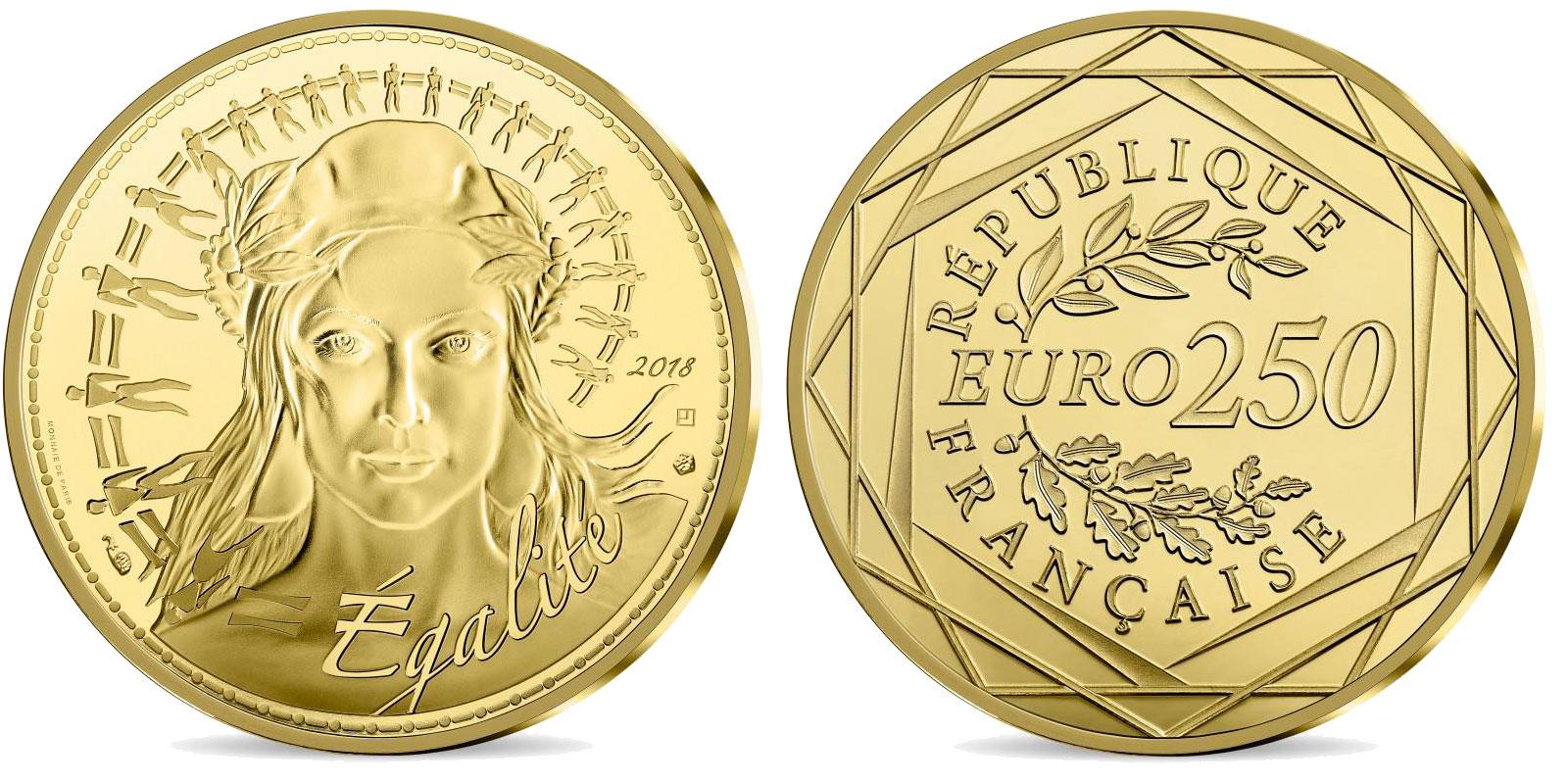 Pièce or Monnaie de Paris 250 euro Marianne 2018