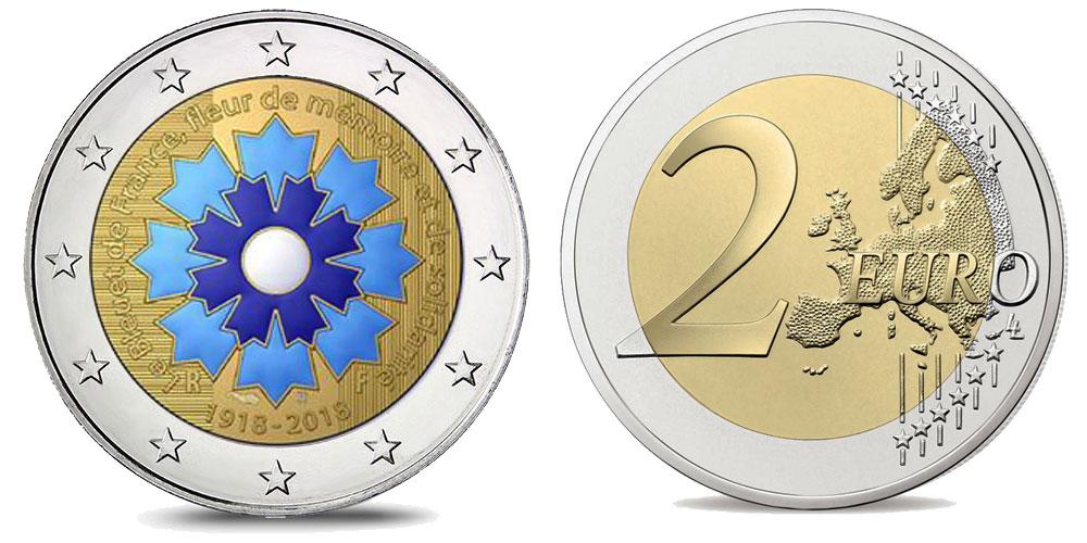 Pièce de 2 euro Bleuet colorisée - Centenaire de l'Armistice de 1918