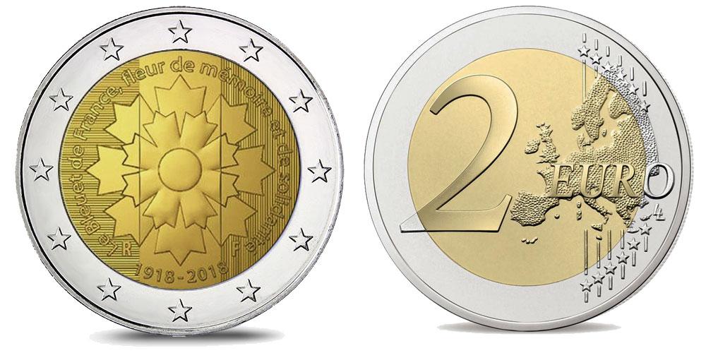 Pièce de 2 euro Bleuet - Centenaire de l'Armistice de 1918