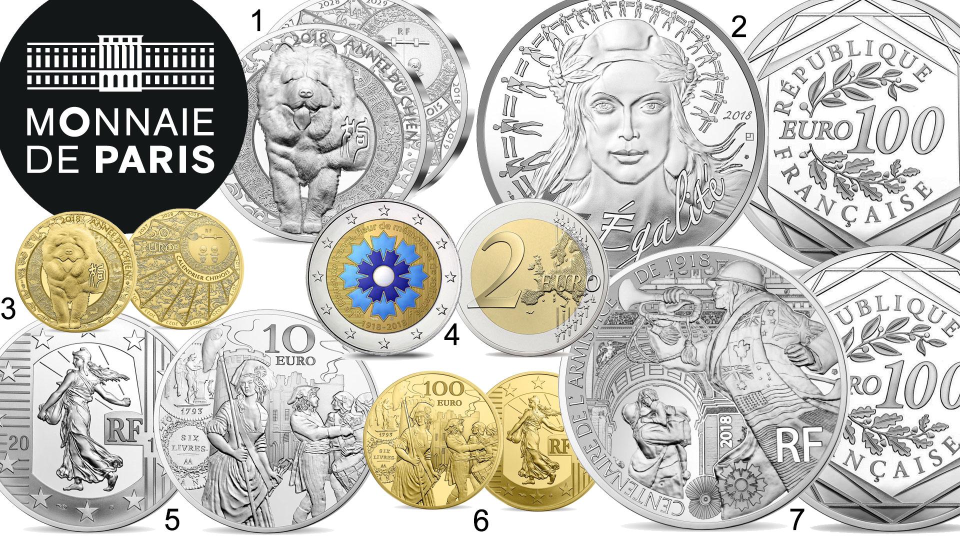 Quelques nouvelles pièces de collection de Monnaie de Paris pour l'année 2018