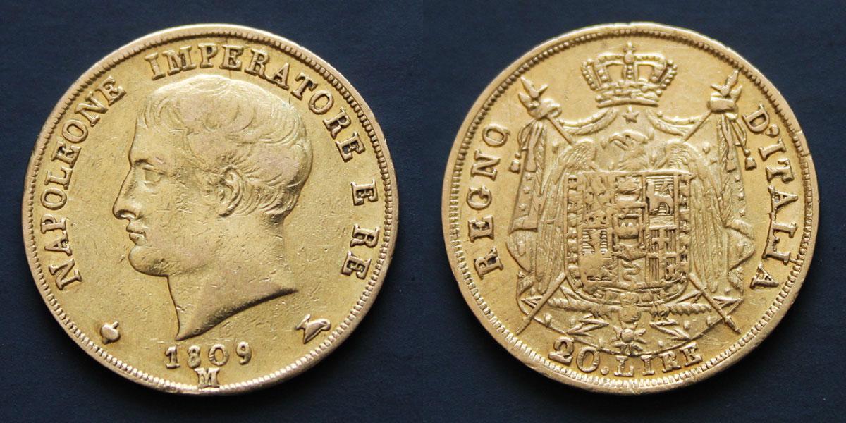 Une pièce de 20 lire or à l'effigie de Napoléon Ier frappée en 1809 à Milan