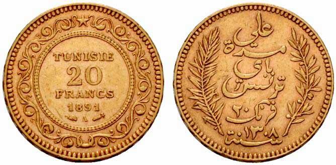 Pièce cotée : pièce 20 francs or Tunisie