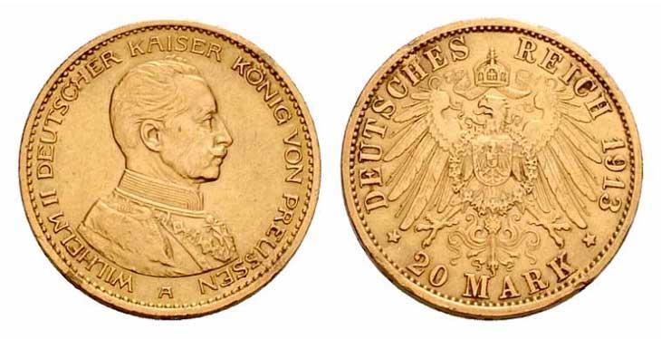 Pièce cotée : 20 Reich Mark or Guillaume II uniforme