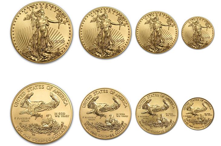 Photo des 4 pièces d'or American Gold Eagle