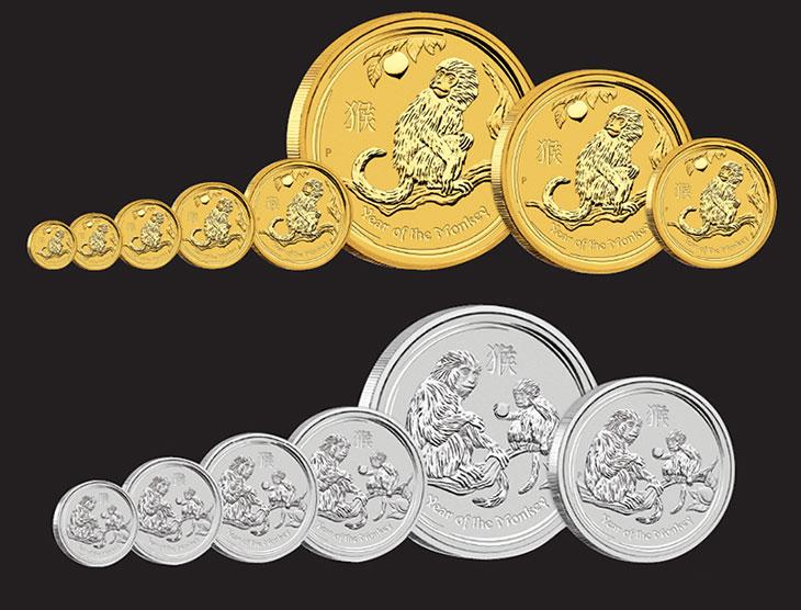 Photo des nouvelles pièces d'or et d'argent d'Australie Lunar Singe 2016