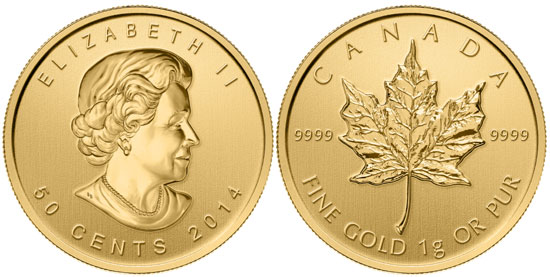 Photo de la piece d'or d'un gramme de 50 cents Maple Leaf