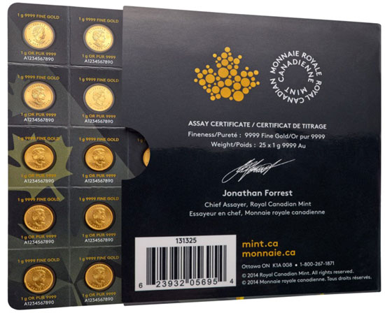 Emballage contenant 25 pieces d'or Maple Leaf d'un gramme