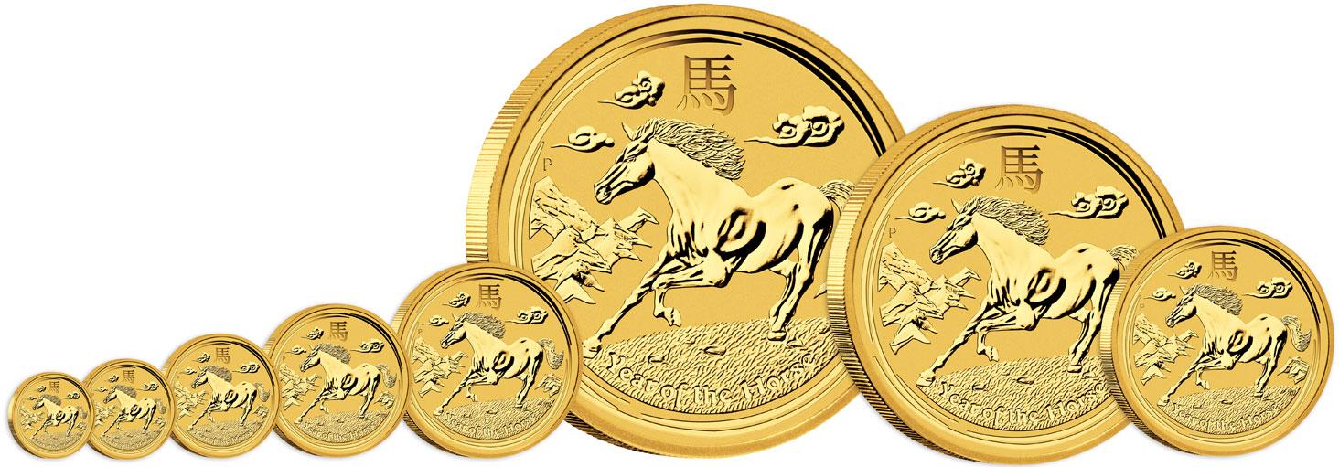 Pièce d'or Lunar Horse : disponibles à partir d'un vingtième d'once
