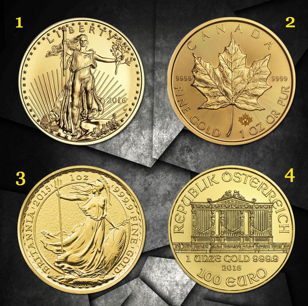 Quelques pièces d'or d'investissement d'une once classiques