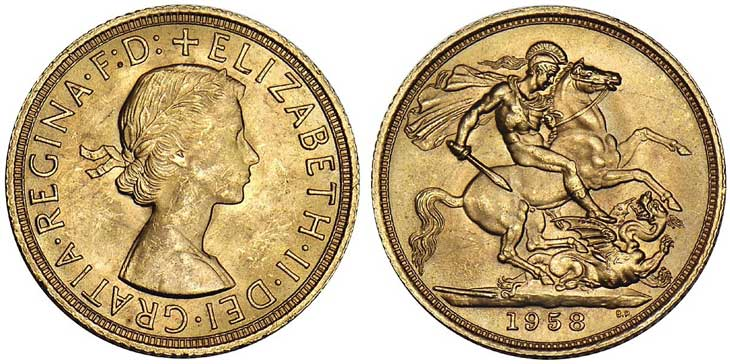 Pièce cotée : souverain d'or Elizabeth II
