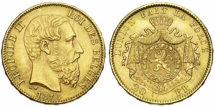 Pièce cotée : 20 francs or Belgique Léopold II type Union Latine