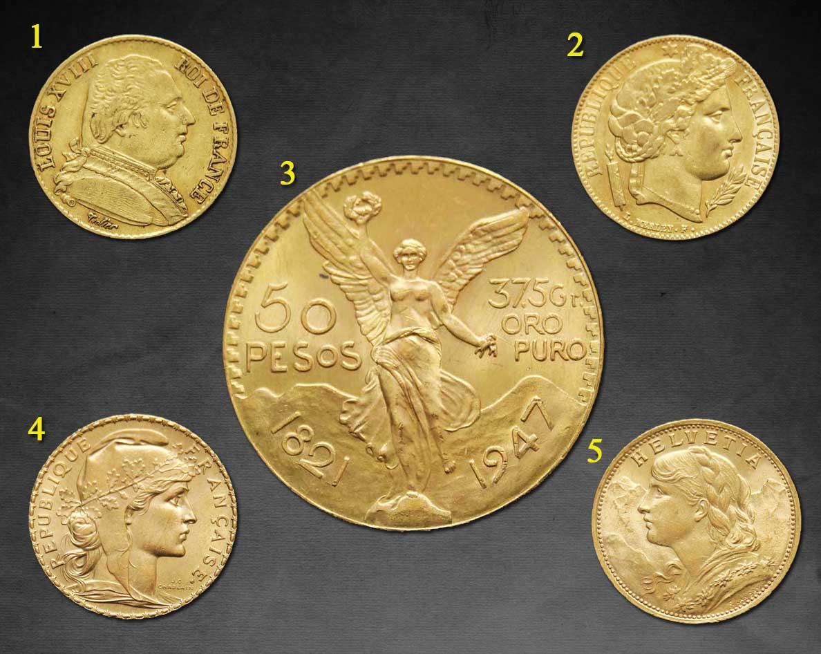 Photo des quelques nouvelles pièces d'or en vente