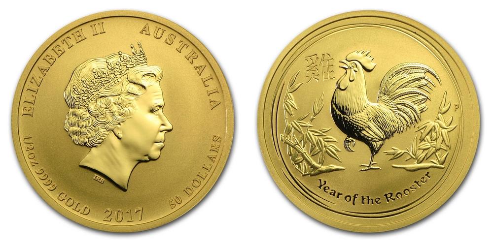 Pièce or Australie 1/2 once Coq Lunaire en or