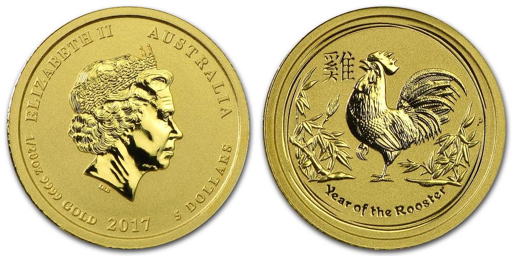 Pièce or Australie 1/20 once Coq Lunaire en or