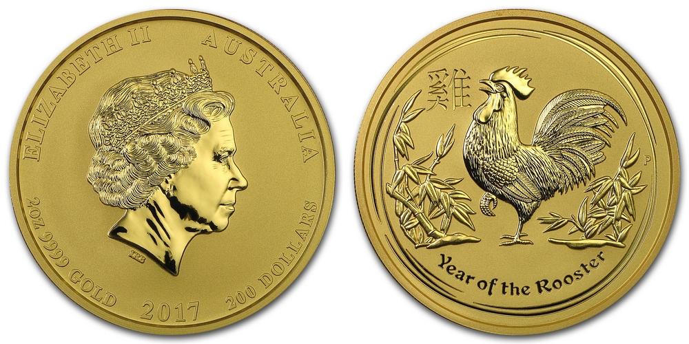 Pièce or Australie 2 once Coq Lunaire en or