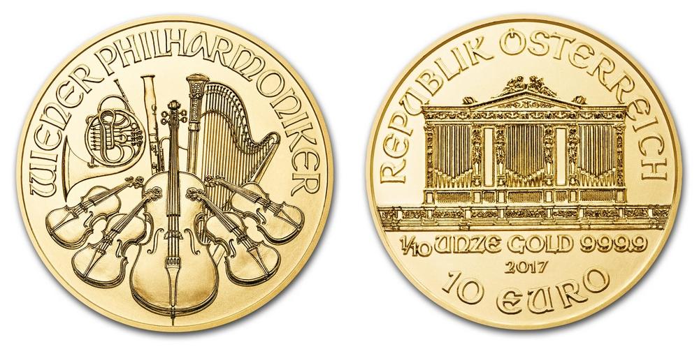 Pièce or Autriche 1/10 once Philharmonique de Vienne en or