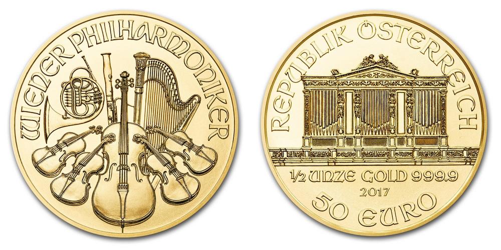 Pièce or Autriche 1/2 once Philharmonique de Vienne en or