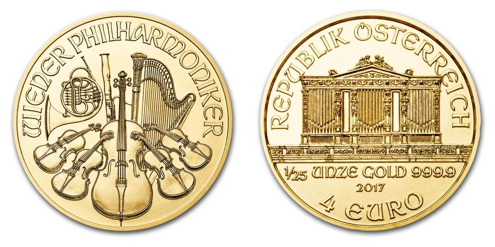 Pièce or Autriche 1/25 once Philharmonique de Vienne en or