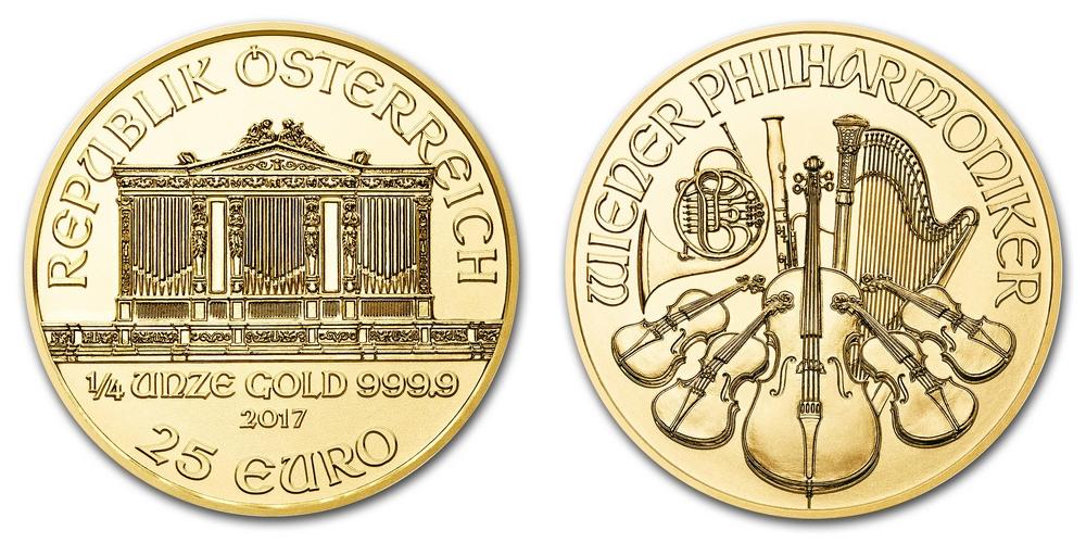 Pièce or Autriche 1/4 once Philharmonique de Vienne en or