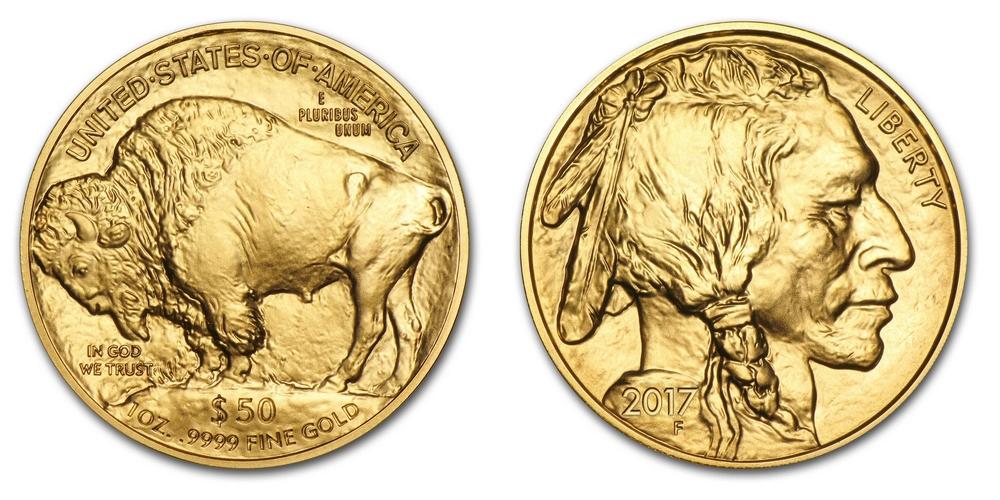 Pièce or Etats-Unis 1 once Bison en or