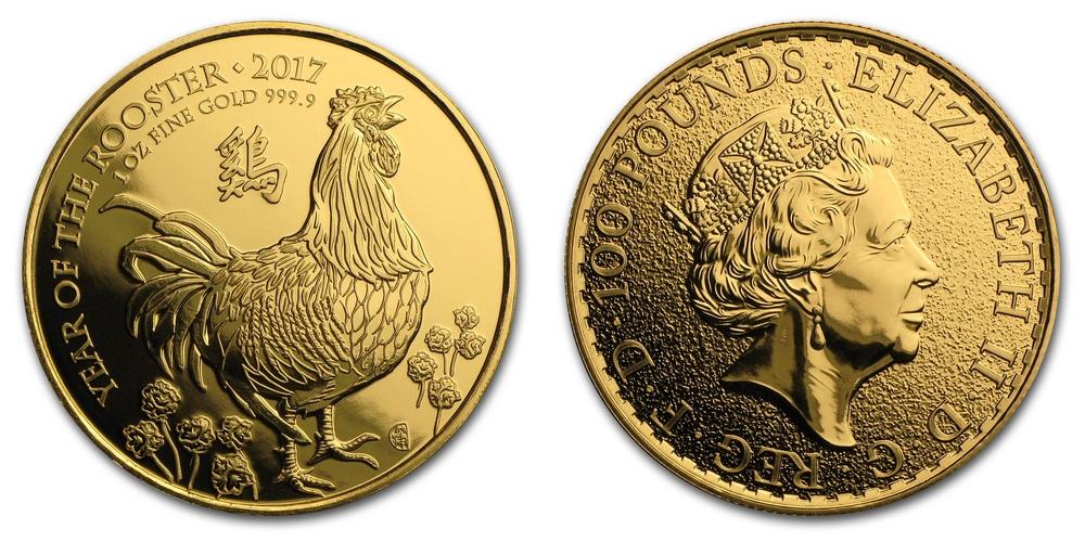 Pièce or Royaume-Uni 1 once Ann�e du Coq en or