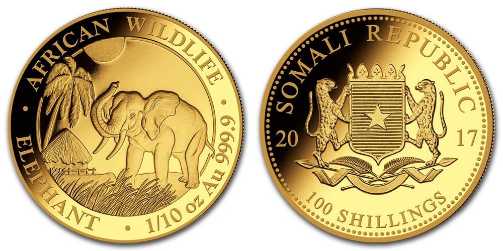 Pièce or Somalie 1/10 once Elephant Africain en or