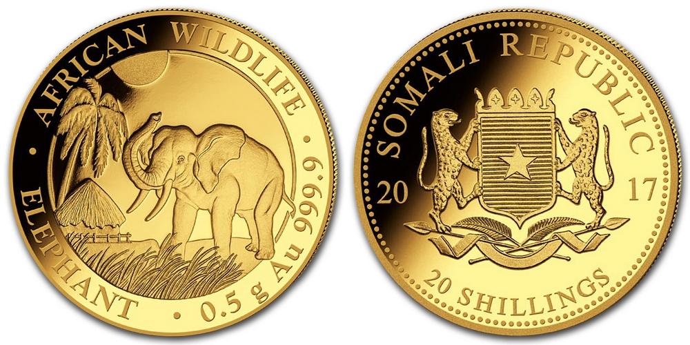 Pièce or Somalie 1/2 gramme Elephant Africain en or