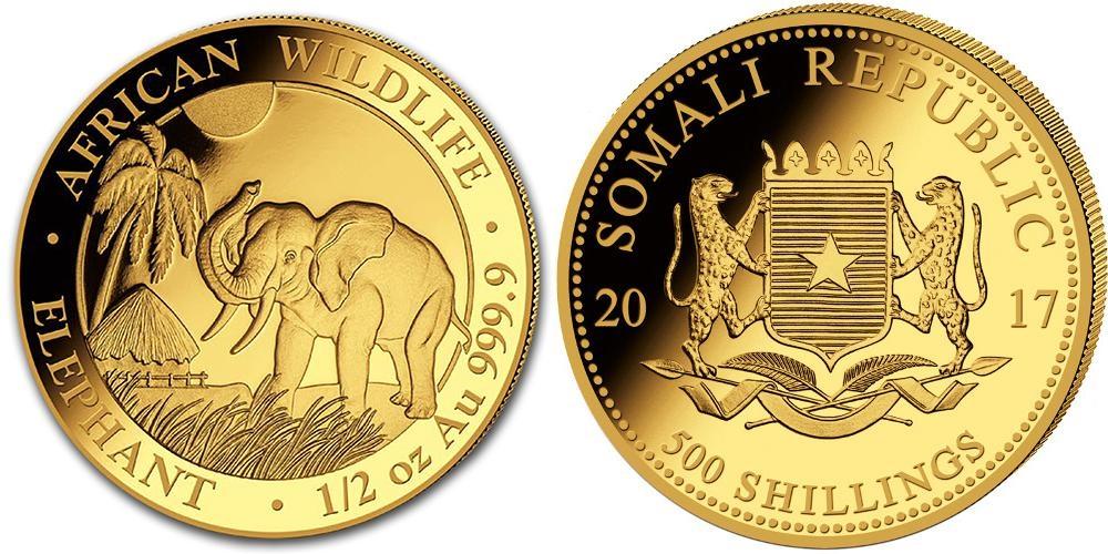 Pièce or Somalie 1/2 once Elephant Africain en or