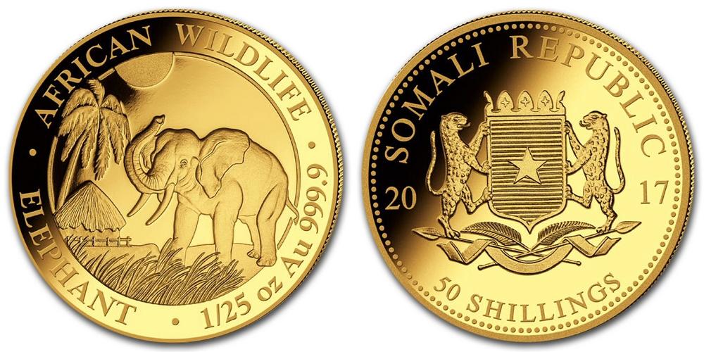 Pièce or Somalie 1/25 once Elephant Africain en or