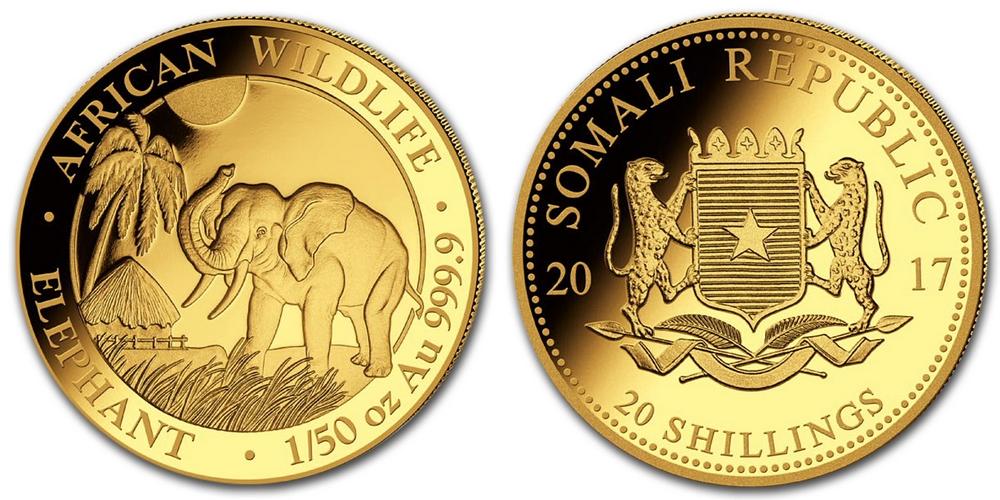 Pièce or Somalie 1/50 once Elephant Africain en or